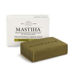 Savon traditionnel à l'huile d'olive et mastiha de Chios Mastiha Shop vue de face avec du savon