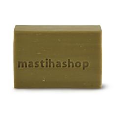 Savon traditionnel à l'huile d'olive et mastiha de Chios Mastiha Shop vue de face avec du savon sans emballage