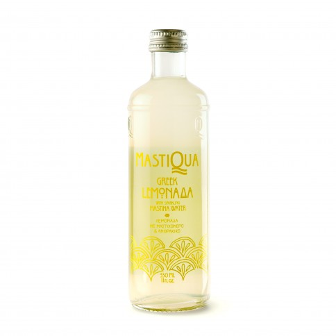Lemonade sparkling water with Mastic 330ml MASTIQUA front view