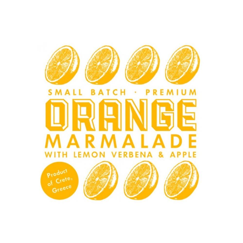 Confiture d'orange, pomme et verveine citronnelle produite de manière artisanale avec des fruits frais