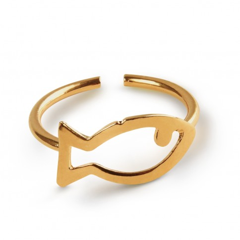 Psaraki 24K gold plated ring made in Greece. Front view