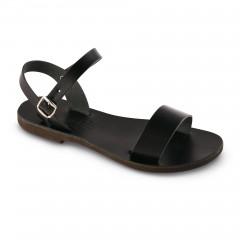 Sandales grecques en cuir noir Athéna, fabriquées à la main en Crète, vue de 3/4