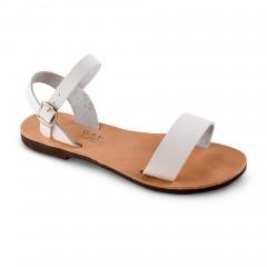 Sandales grecques en cuir blanc Athéna, fabriquées à la main en Crète, vue de 3/4