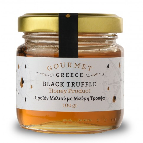 Pot de miel de Grèce à la truffe noire Melicera, 100g vu de face.