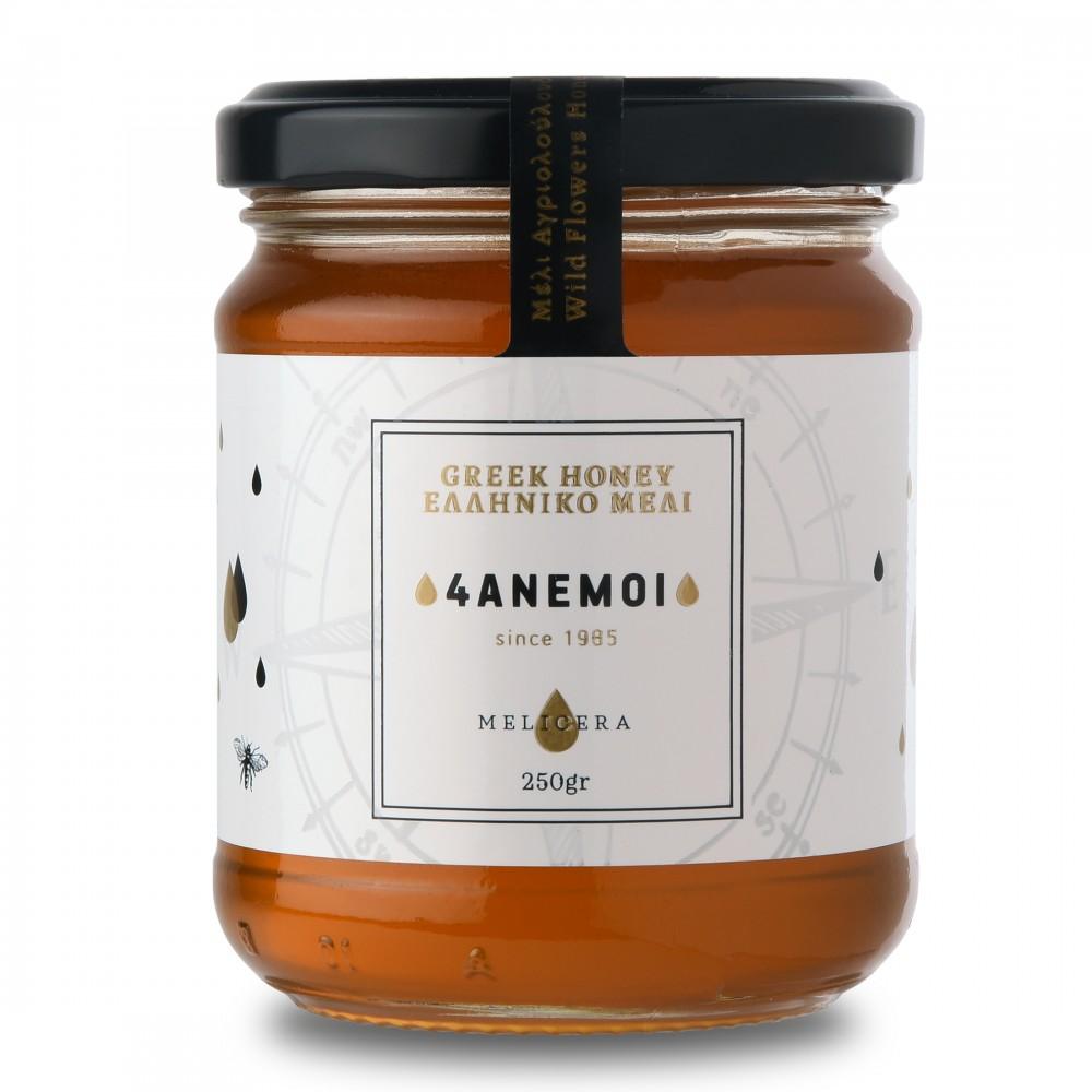 Pot de miel grec Melicera aux fleurs sauvage, 250g vu de face
