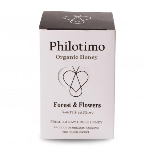 Βιολογικό Μέλι δάσους και λουλουδιών περιορισμένη έκδοση 450g Philotimo βαζάκι με τη συσκευασία του μπροστινή όψη