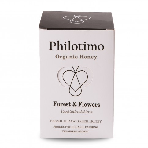 Organic Forest and flower honey limited edition Philotimo jar of 450g with its packaging front view