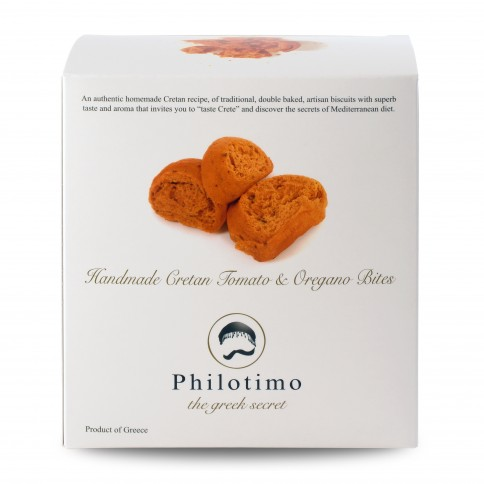 Biscuits crétois à la tomate et origan 200g Philotimo, boîte vue de face