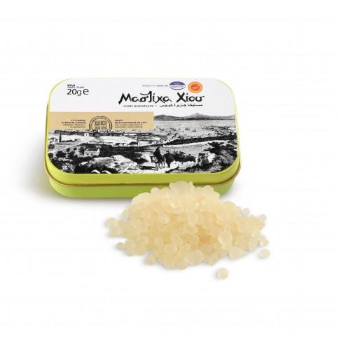 Larmes de Mastiha fines, boîte de 20g Mastiha Shop vue de face avec le contenu