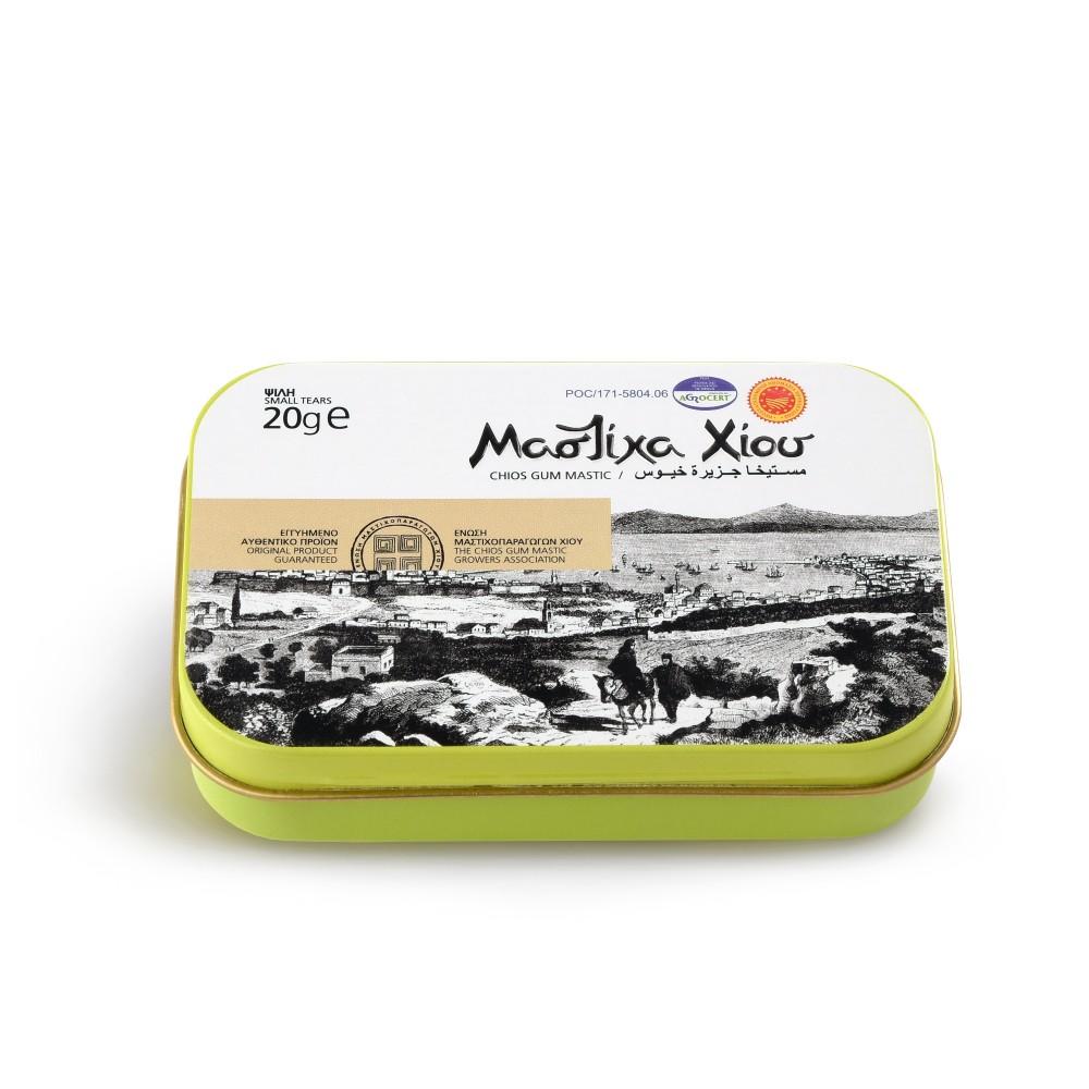 Larmes de Mastiha fines, boîte de 20g Mastiha Shop vue de face