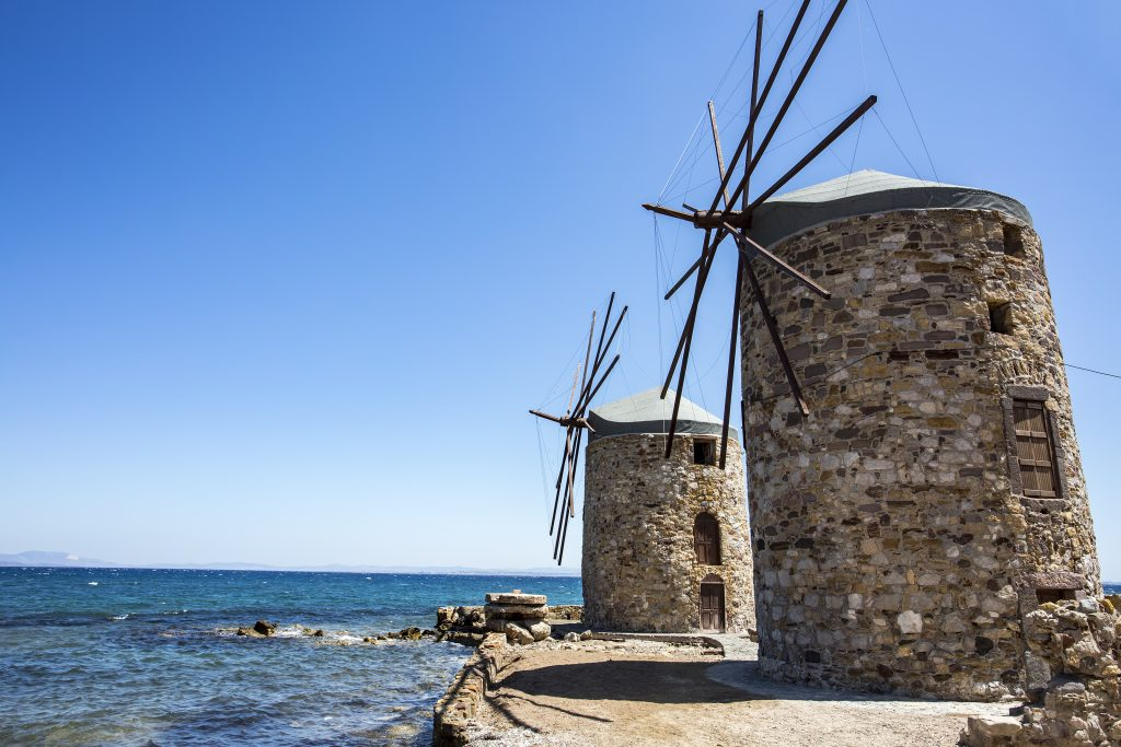 Windmills in Vrontados in Chios island
