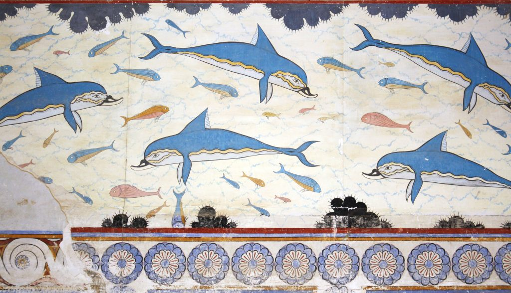 Fresque Minoenne, Palais des dauphins de Knossos en Crète