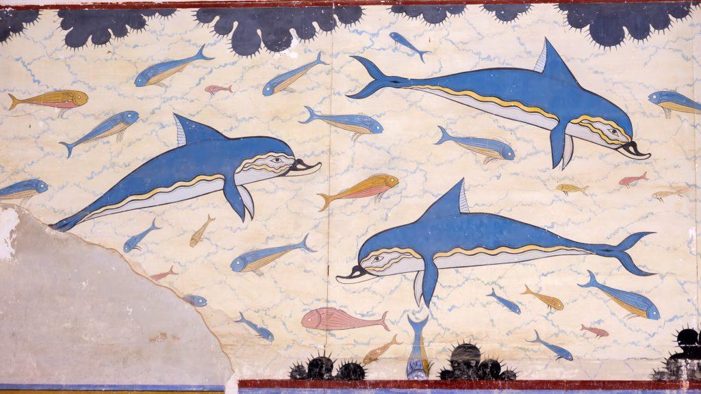 Fresque Minoenne datée de 1700-1450 avant JC - Palais des dauphins de Knossos