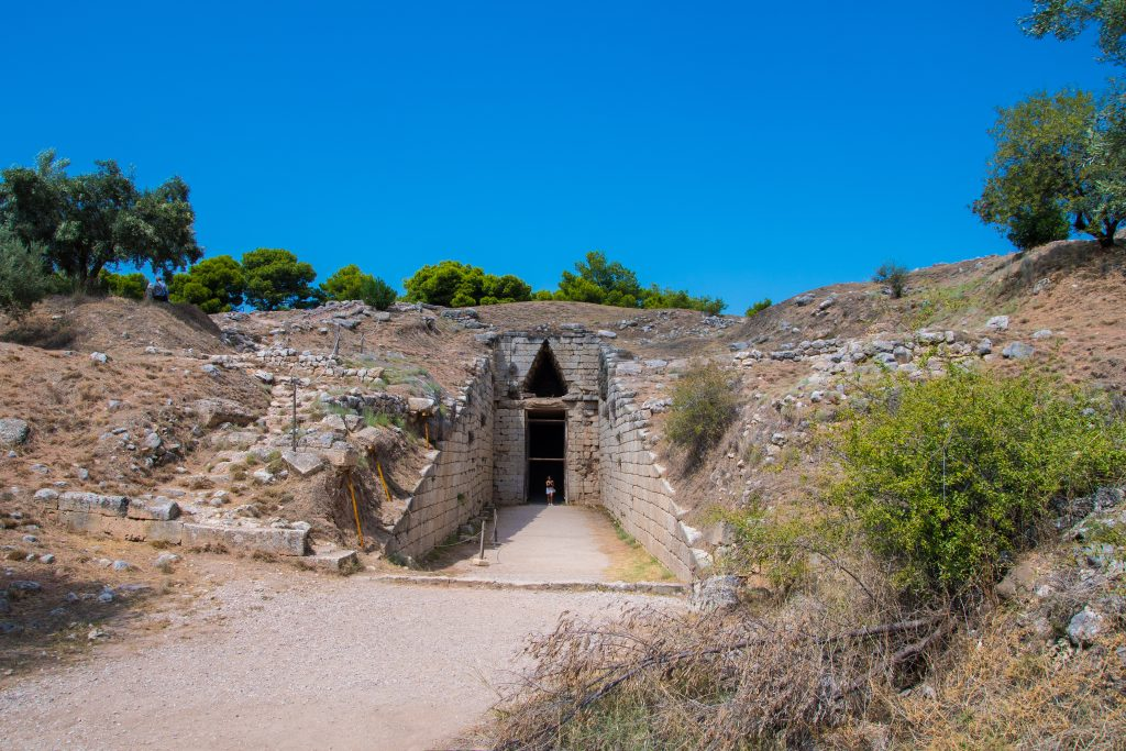 "Entrance to the ""Treasury of Atreus"" or ""Tomb of Agamemnon"" of the archeological site of Mycenae, in Peloponnese, Greece"