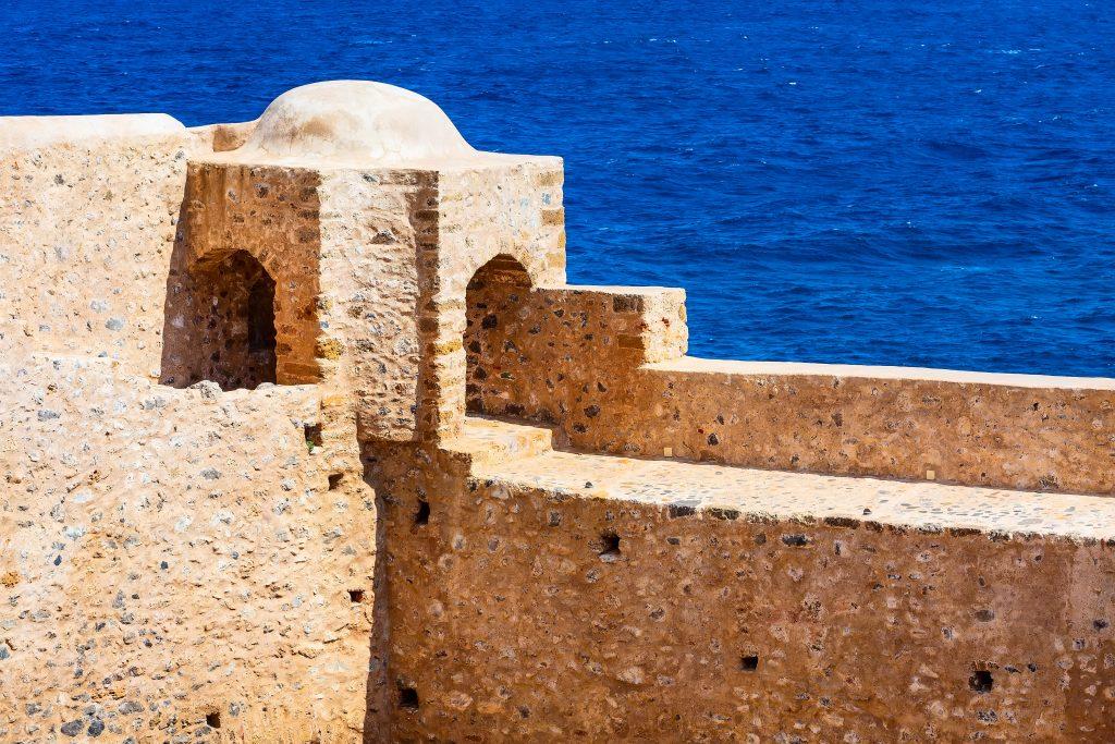 Monemvasia old town wall in Peloponnese, Greece