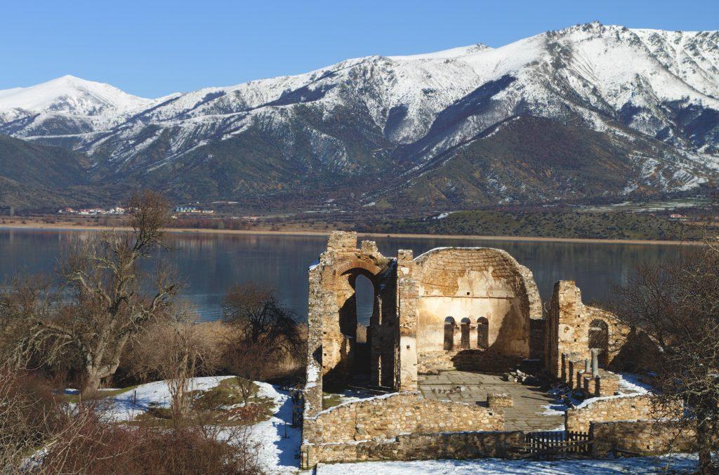 Saint Achilleios ruins at lake Prespa in Greece