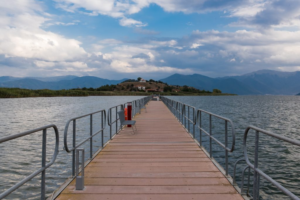 View of the floating bridge at the Mikri (Small) Prespa Lake in northern Greece