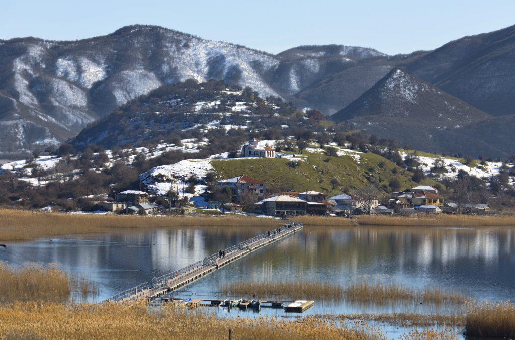 Saint Achilleios isle at lake Prespa in Greece