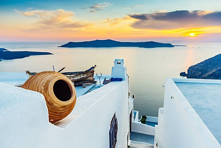 Greek village by the sea in the Cyclades with greek authentic products