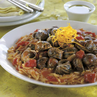 Orzo with snails and Chios olive oil