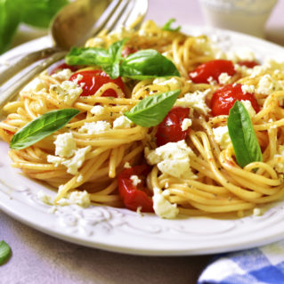 Summer pasta with olive tapenade