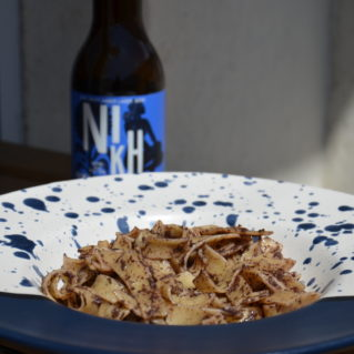 Hilopites with homemade olive paste and anchovies